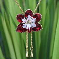 Gold plated natural orchid lariat necklace, 'Scarlet Dancer' by NOVICA