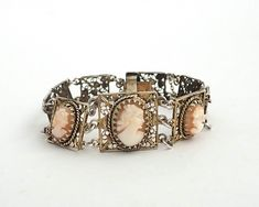 Vintage hand carved shell cameo brooch in gilded filigree silver setting, European silver, 1930s by CardCurios on Etsy Birthstone Stacking Rings, Silver Filigree, 1930s, Hand Carved, Shells, Carving, Brooch, Chain, Bracelets