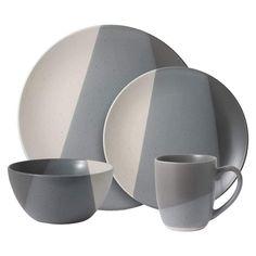 Brandi Gray 16 Piece Dinnerware Set, Service for 4