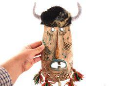 Ceramic wall mask Original ceramic mask Folk art mask by Ceramic Mask, Summer Gifts, Animal Fashion, Folk Art, Mixed Media, Artisan, Etsy Shop, Ceramics, Sculpture