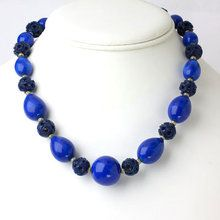 Art Deco Lapis & Celluloid Necklace - trufaux Jewels