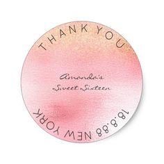 Sweet Sixteen Pink Sparkly Glitter Round Sticker