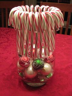 Peppermints in small fish bowls with candles super cute for Candy cane holder candle centerpiece