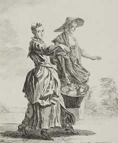 """All sorts of Earthenware"" by Paul Sandby (1760) at the Museum of London, London - From the curators' comments: ""These two women, probably mother and daughter, sell earthen- and stoneware pottery from a basket....The women are carrying a heavy basket of ceramics between them and, so burdened, would have flung out their free arms as a counter balance.""  This was one of a series of 12 prints made from Sandby's 76 sketches showing London's street vendors."