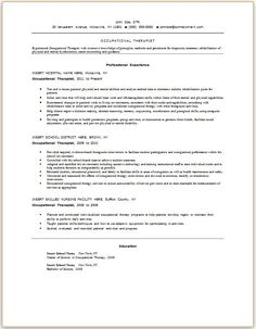 sample occupational therapist resume occupational therapy cover letter