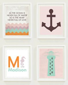 Nursery Print: Beach - Anchor- Monogram - Nautical Theme-Boys Room - Girls Room - Gender Neutral- Digital - Home Decor- New Baby Gift
