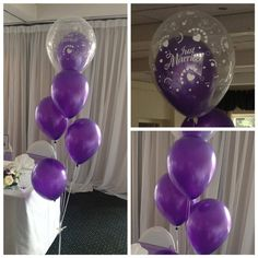 Double bubble balloons Purple theme Just married Niche Events