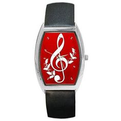 Christmas Musical Note on Red w/ Holly on a Barrel Watch w/ Leather Bands.  $23.99