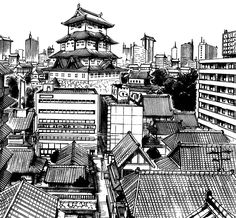 Architectural - Urban Sketches and Cityscape Drawings Drawing Practice, Line Drawing, Ink Illustrations, Illustration Art, Cityscape Drawing, Environment Sketch, Animation Storyboard, Comic Manga, Dark Art
