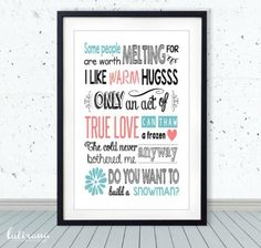 Super cool Disney Frozen room print - quotable wall art. Just add frame.
