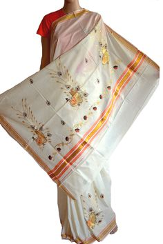 #Kasavu #Sarees, simple yet elegant in their own style. This saree is adorned with #embroidered #peacocks on the pallu and the border. Not loud, this saree will make a perfect choice for occasional wear. (Fabrics of #India www.facebook.com/fabricsofindia2013) Price: USD 60