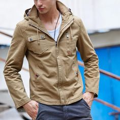 Casual Spring  Cotton Hooded Cooat 3 colors