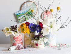 Dosen mit Blumenstoff einkleiden / cans with flower design - up cycling