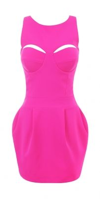 Madison Neon Pink Structured Stretch Crepe Tulip Dress