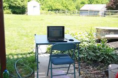 I'm lucky enough to be allowed to work from home three days a week. Piper (7) and Lily (4) wanted to play outside so I moved to a suitable location where I could keep an eye on them.     What do you think? Free training http://ibourl.com/11hr