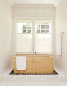 Japanese style bath:  like square pane windows with bottom up blinds.