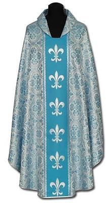 New SILVER - BLUE CHASUBLE & STOLE, Priest Vestments Catholic #383