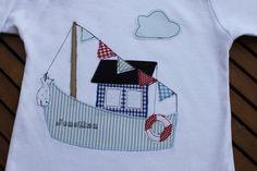 """Langarmshirts - Kinderlangarmshirt """"Hausboot"""" mit Name - ein Designerstück von milla-louise bei DaWanda"""