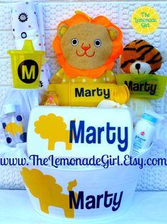 Personalized BOY GIRL Baby Shower Gift Basket, Gift Set, Alligator, Lion, New Mom, New Baby Gift, Lion Baby Basket