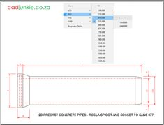 Precast Concrete Pipes: Rocla Spigot and Socket to SANS 677 Precast Concrete, Cad Blocks, Autocad, Pipes, Editor, 2d, Tables, Floor Plans, The Unit