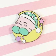 Limited Edition! ❤Napping Kirby❤ This adorable pin features our favorite pink puffball snoozing on the moon! This pin is 1.5 inches, Silver Metal, Double Posts 2 special color variants -Green Hat -Lavender Hat ❤These pins are adorable!, the perfect accessory for clothing and bags!❤