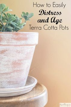 How to Easily Distress and Age Terra Cotta Pots. How to Easily Distress and Age Terra Cotta Pots from Dwelling in Happiness. Learn how to easily distress and age terra cotta pots! Inexpensive and simple way to add a little farmhouse-style to your plants. Diy Garden, Garden Crafts, Garden Planters, Glass Garden, Garden Ideas, Garden Landscaping, Garden Pallet, Diy Planters, Planter Boxes