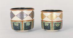野々村仁清 色絵金銀菱文重茶碗 江戸時代(17世紀)