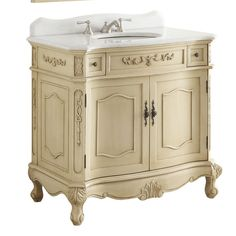 Gallery For Website Adelina inch Antique Single Sink Bathroom Vanity Creamy Beige finish