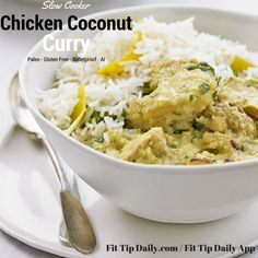 Slow cooker chicken coconut curry delivers a rich taste of cream with the kick of spice and the detoxifying affects of curry keep your tastebuds guessing.
