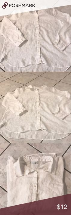 EUC NEVER WORN WRINKLED WHITE LINEN SHIRT j. Jill This awesome white linen shirt by J . Jill is part of the Love linen line . It is the Missy style. Super soft wonderful linen- you just can't go wrong with a white linen shirt. You really can't go wrong with my price!! J. Jill Tops Button Down Shirts