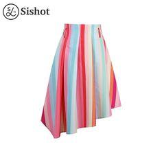 women summer cotton blends knee length cute skirt pink stripes standard waist a line skirt