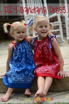 Learn how to make this fun and easy Bandana dress!  Easy to sew (even for non-sewers!)    http://fabulesslyfrugal.com/2012/06/diy-bandana-dress.html