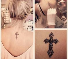 Cute cross tattoo and good placing. Want this