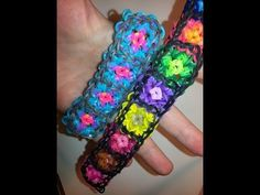 GRANNY SQUARE Rainbow Loom Bracelet. Designed and loomed by Ellen Carpenter of feelinspiffy. Click photo for YouTube tutorial.