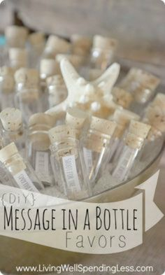 21 MERMAID BIRTHDAY PARTY IDEAS FOR KIDS - DIY Message in a Bottle Party Favors