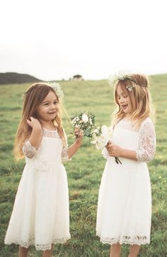 The little flower girls are so important at a wedding. What's the most exciting moment of a wedding? But before all these, it's flower girls that show up first. Cute Flower Girl Dresses, Lace Flower Girls, Lace Flowers, Flowers In Hair, Girls Dresses, White Dresses For Girls, Girls Bridesmaid Dresses, Lace Dresses, Bridesmaids
