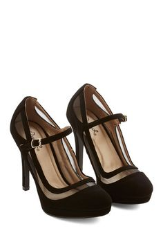 Black Sheer Detail Heels