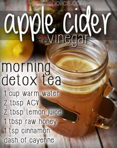 "Sweet, tart and detoxifying, this ""tea"" refreshes you and provides some awesome benefits! The main ingredient is organic apple cider vinegar (ACV) and it packs a punch! It aids in weight loss, helps control blood sugar, boosts energy, improves immunity, metabolism, digestion, acne, hair, breath and more! Read about more benefits and sources here! It really is a super-food to keep in your pantry."