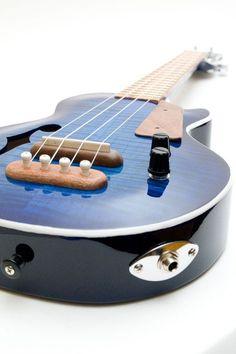 Les Paul style Tenor ukulele blue burst by celentanowoodworks