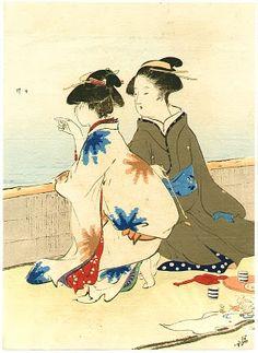 Kiyokata Kaburagi (1878-1972) Japanese Artist At the Shore