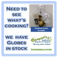 Sometimes replacing that oven globe or that fan extractor globe seems like more work than it's worth.  Replacing that globe far outweighs having to potentially open that oven door and spoil that cake or the cooking process. We have a large selection of globes in stock.  #globe #globes #oven #wefix #bergensappliances #wekeepthemworking #quote #inthekitchen #vanderbijlpark Vanderbijlpark Branch Follow us on Instagram and Pinterest WhatsApp:   076 960 6467 Email:   vanderbijlpark@bergens.co.za