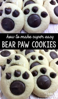 Bear Paw Cookies recipe fun treat for kids Recipes Just Desserts, Delicious Desserts, Dessert Recipes, Yummy Food, Kid Recipes, Jello Recipes, Whole30 Recipes, Vegetarian Recipes, Healthy Recipes