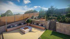Porche moderno con fuego a tierra para jardín con desniveles en barcelona. Diseño 3D. Outdoor Sectional, Sectional Sofa, Barcelona, Outdoor Furniture, Outdoor Decor, Chill, Patio, Home Decor, Porch Designs