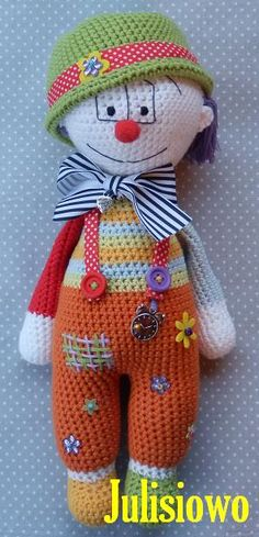 crochet doll clown Luis - PDF pattern Etsy https://www.etsy.com/listing/200674218/crochet-pattern-doll-clown-luis-pdf?ref=shop_home_active_17