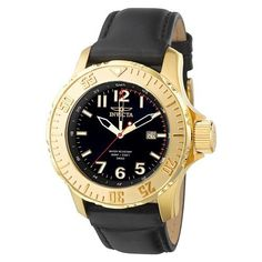 Invicta Men's F0058 Pro Diver Sport Collection GMT Gold-Tone Watch Invicta. $79.99. Precise Swiss-quartz movement. Black dial with gold-tone hands and arabic numerals; luminous; red second hand; unidirectional bezel. Water-resistant to 330 feet (100 M). Date function. Durable mineral crystal; brushed and polished gold-tone stainless steel case; black leather strap. Save 75%!
