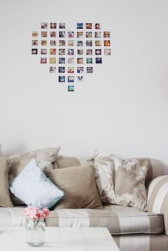 Home heart wall collage using Instagram prints