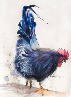 """Saatchi Art Artist Olga Flerova; Painting, """"Blue Rooster №3"""" #art"""