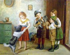 The Little Welpe Is Welcomed Edmund Adler (1876 – 1965, Austrian) This man is besotted with his children - so many paintings of them in groups, and often with animals. He is a master at depicting the gentle joys of childhood.