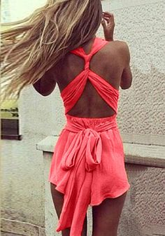 Strappy Open Back Romper - Tied Straps At Back
