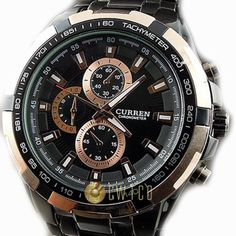 CURREN Stylish Quartz Movt Stainless Steel Watchband Mens Wrist Watch-8023Rosegold (Black) by CURREN -- Awesome products selected by Anna Churchill